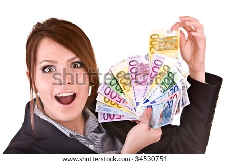 Businesswomen with group of money. Isolated. - stock photo