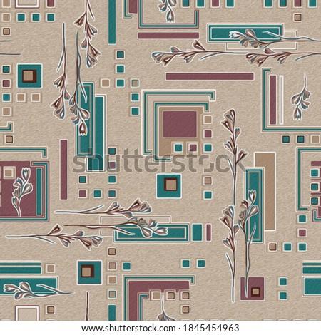 buti flowes with leafsv cyan colour geomatricla pattern  Zdjęcia stock ©