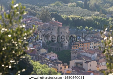 Buti - Small town nestled in the Pisan mountains - Tuscany - castle and bell tower Zdjęcia stock ©