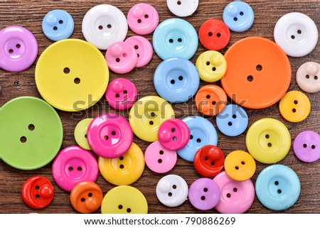Buttons close up. Buttons background.Plastic buttons. Colorful buttons background. #790886269