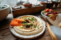 cafe with hummus dishes