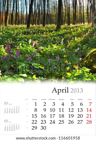 2013 Calendar. April. Beautiful spring landscape in the forest