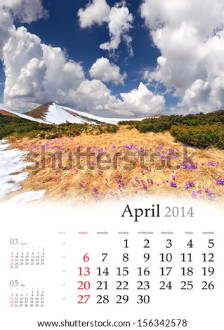 2014 Calendar. April. Blossom of crocuses in spring in the mountains