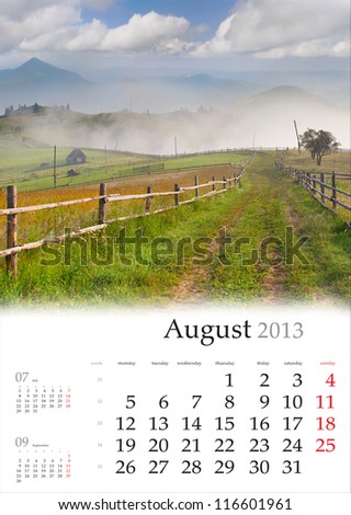 2013 Calendar. August. Beautiful summer landscape in the mountain village.