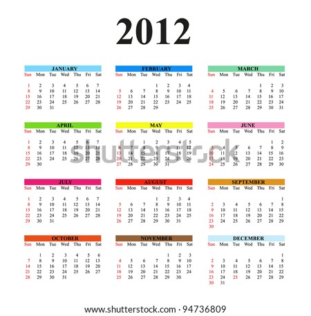 2012 calendar designed on a white background. Times New Roman font used.