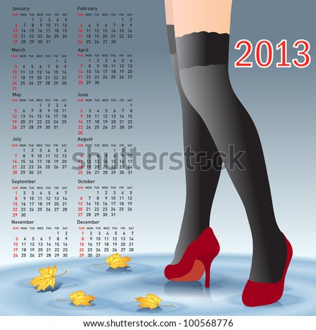 2013 Calendar female legs in stockings - stock photo
