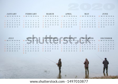 calendar for 2020 with a picture of anglers. one-sheet fishing calendar 2020 start from sunday