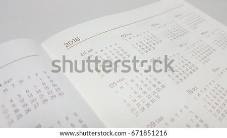 2018 calendar in schedule book #671851216