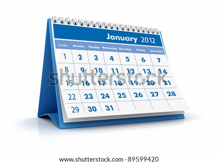 2012 Calendar. January