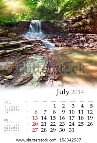 2014 Calendar. July. Beautiful summer landscape in the forest with waterfall.