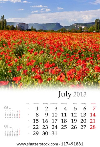 2013 Calendar. July. Beautiful summer landscape with field of poppy