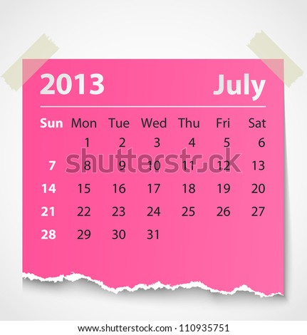 2013 calendar july colorful torn paper. Vector illustration
