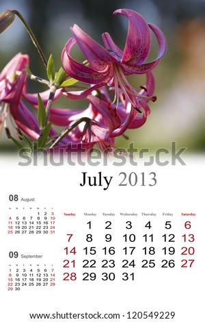2013 Calendar. July. Summer colors