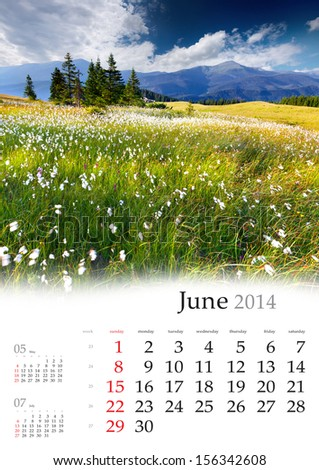 2014 Calendar. June. Beautiful summer landscape in the mountains.