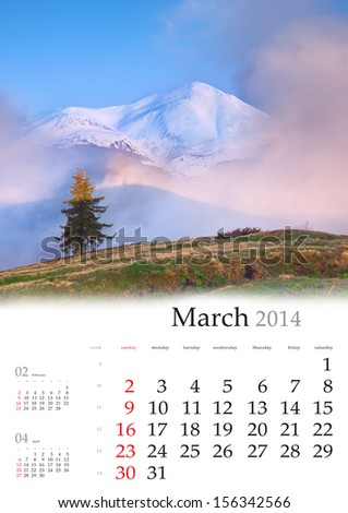 2014 Calendar. March. Colorful spring landscape in the mountains