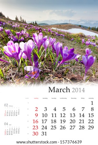 2014 Calendar March Colorful spring landscape in the mountains