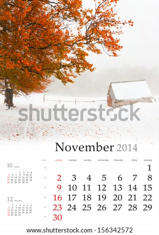 2014 Calendar. November. Beautiful autumn landscape in the mountains