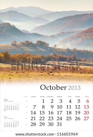 2013 Calendar. October. Beautiful autumn landscape in the mountain village.