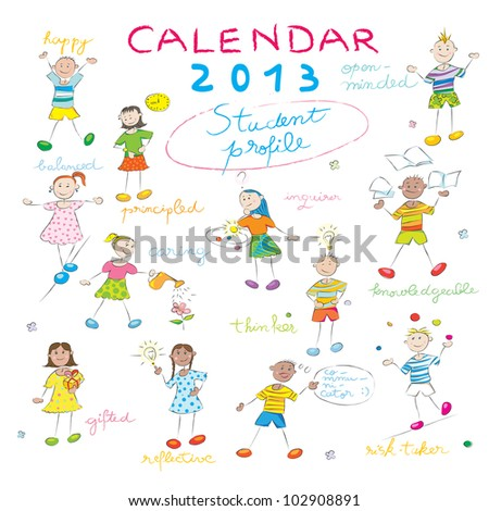 2013 calendar on a whiteboard with the student profile for international schools, cover design