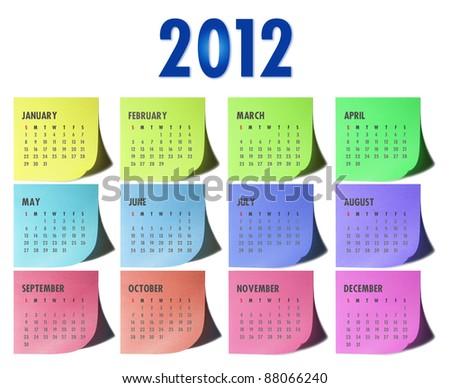 2012 calendar on written sticky memo pads