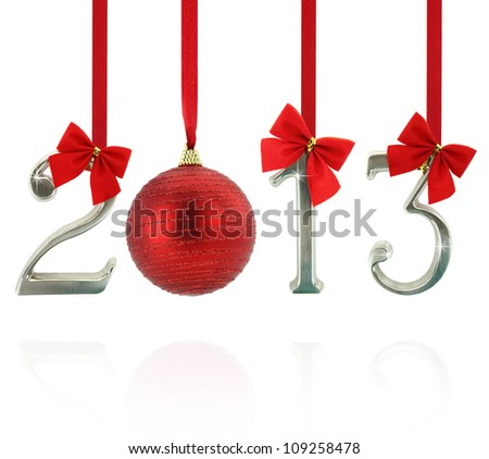 2013 calendar ornaments hanging on red ribbons
