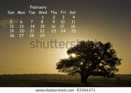 2012 calendar page for February showing vibrant English countryside landscape image