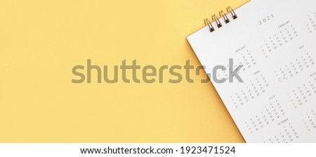 2021 calendar page on yellow color background business planning appointment meeting concept