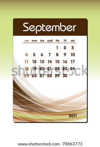 2011 Calendar. September.