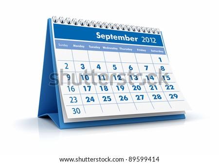 2012 Calendar. September