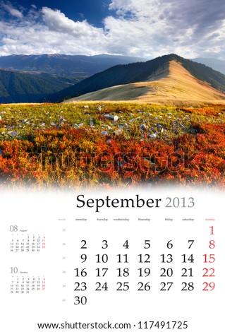 2013 Calendar. September. Beautiful autumn landscape in the mountains.