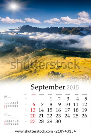 2015 Calendar September Beautiful autumn landscape in the mountains