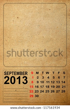 2013 Calendar, September on empty old paper