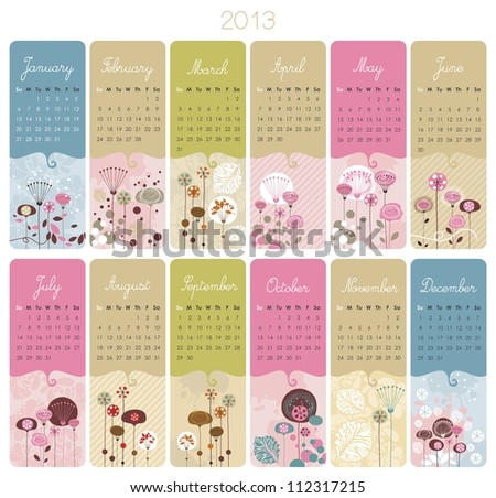 2013 Calendar set with vertical banners or cards - stock photo