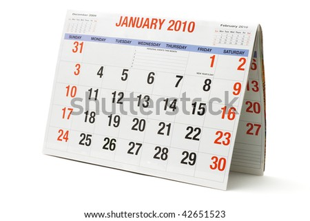 2010 calendar showing January page on white background