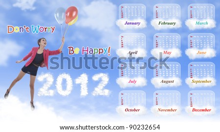 2012 calendar template showing woman flying with colorful balloons