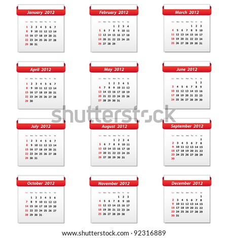 2012 calendar. Vector available.