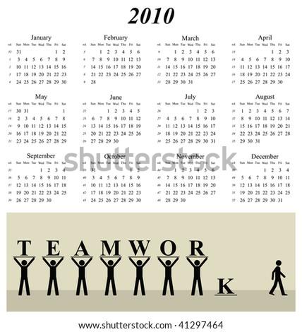 2010 calendar with an office teamwork theme