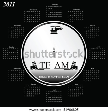 2011 calendar with an office teamwork theme