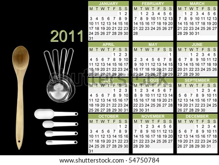 2011 calendar with cooking utensils