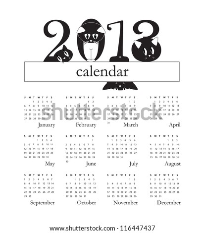 2013 calendar with funny cats instead of digits - week starts on Sunday - original funny vector illustration - stock photo