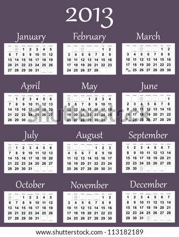 2013 calendar with phases of the moon. Vector version is in my portfolio.