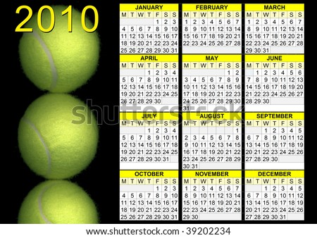 2010 calendar with tennis balls and black background - stock photo