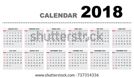 Calendar 2018 year horizontal template design. Calendar Template week starts from Sunday and ends with Saturday.Vector eps10 #737314336