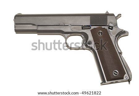 45 caliber airsoft  pistol isolated on a white background.