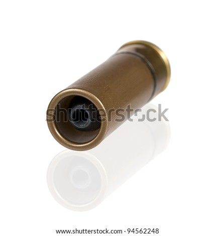 12 caliber bullet cartridge isolated on white with clipping path