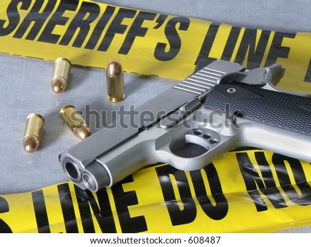 .45 caliber handgun at crime scene.