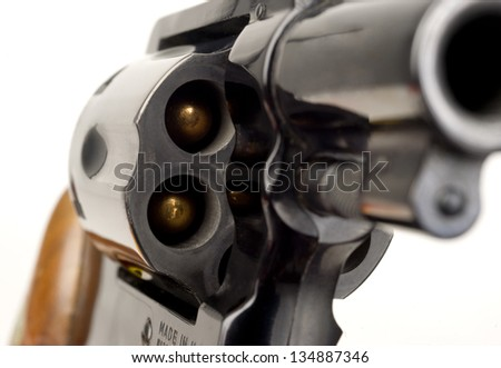 38 Caliber Revolver Pistol Loaded Cylinder Gun Barrel Close Up Pointed on White