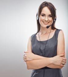 Call center operator. Phone talk. Customer service woman. Isolated.