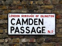 Camden Passage street sign in London Borough of Islington.