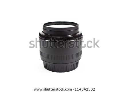 camera lens on white background